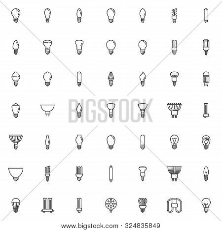 Light Bulbs Line Icons Set. Linear Style Symbols Collection, Outline Signs Pack. Vector Graphics. Se