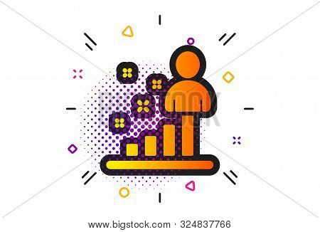 Business Management Sign. Halftone Circles Pattern. Stats Icon. Best Employee Symbol. Classic Flat S