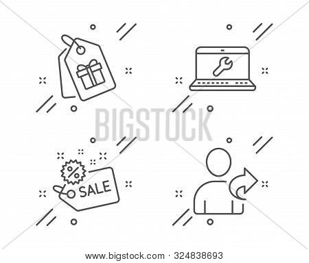 Sale, Laptop Repair And Coupons Line Icons Set. Refer Friend Sign. Shopping Tag, Computer Service, S