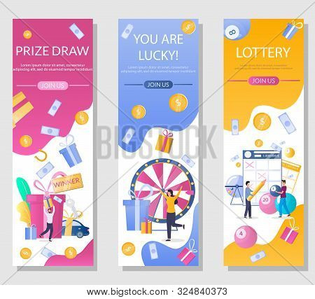Lottery Vector Vertical Web Banner Template Set