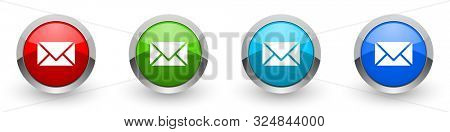 Email silver metallic glossy icons, set of modern design letter, envelope buttons for web, internet and mobile applications in four colors options isolated on white background
