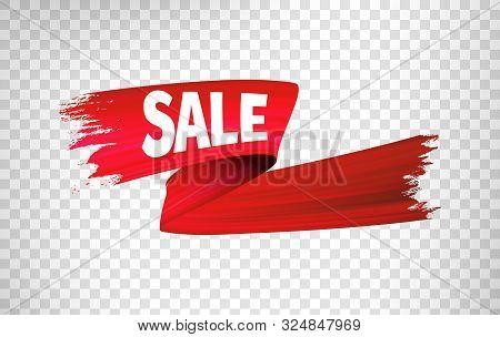 Red Sale Ribbon. Vector 3d Render, Abstract Brush Stroke. Paint Splash. Acrylic Stripe Smear Splatte