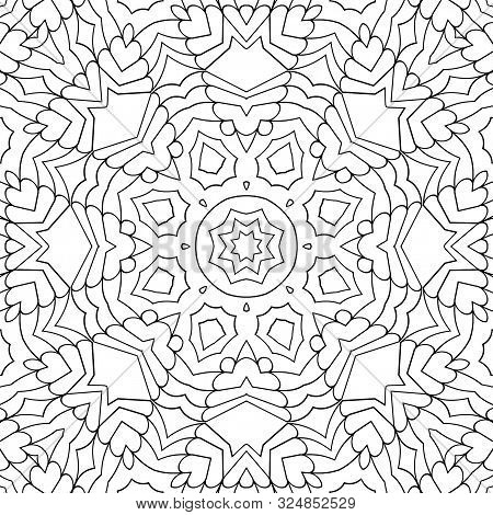 Simple Coloring Page For Kids And Adults. Seamless Mandala Pattern With Many Details. Geometric Trac