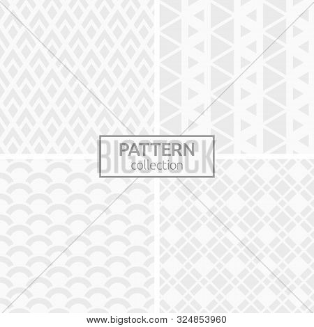 Set Of Four Abstract Geometric Seamless Patterns. Modern Stylish Backgrounds. White And Gray Geometr