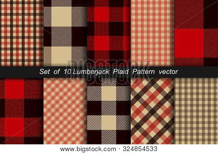 Set Of 10 Lumberjack Plaid Pattern. Lumberjack Plaid And Buffalo Check Patterns. Lumberjack Plaid Ta