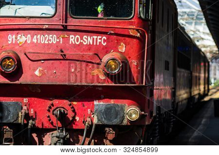 Train On The Platform Of Bucharest North Railway Station (gara De Nord Bucuresti) In Bucharest, Roma