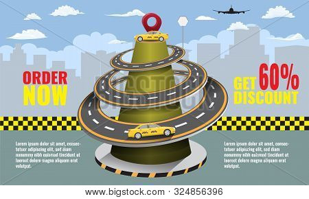 Taxi Concept Infographic Or Mobile App With Road And Taxi Cabs With Driver. Cityscape On Background.