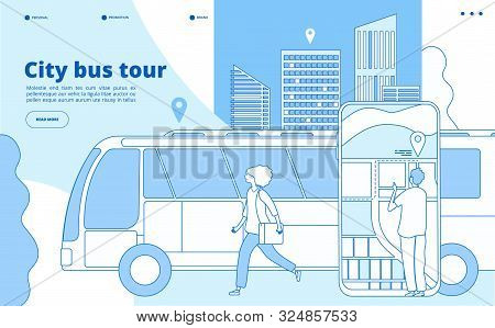 City Bus Tour. Urban Bus Excursion, Tourists With Cityscape And Map Smartphone App. Tourism And Tran
