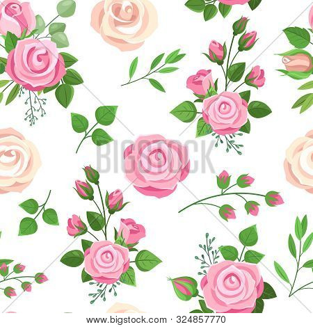 Roses Seamless Pattern. Red, White And Pink Roses With Leaves. Wedding Floral Romantic Decor For Inv