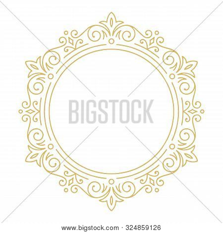 Golden Round Ornament Baroque Style Element Vector. Vintage Engraving Floral Scroll Filigree Circle