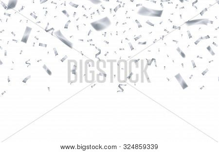 Silver Confetti. Celebrate Birthday Flying Silver Ribbons. Party Holiday Decor Isolated Vector Backg