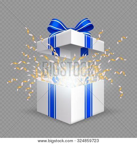 Surprise Box. Opening Gift Box With Blue Silk Ribbon Bow. Vector Christmas, Birthday, Anniversary Pr
