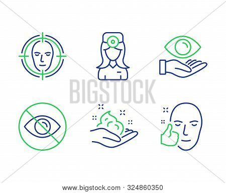 Health Eye, Not Looking And Oculist Doctor Line Icons Set. Face Detect, Skin Care And Healthy Face S