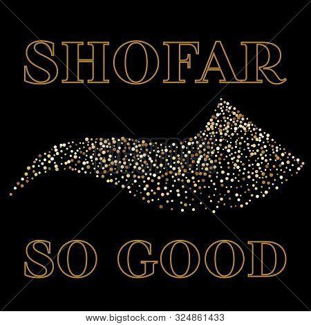 Shofar Yom Kippur Greeting Card, Vector Illustration.