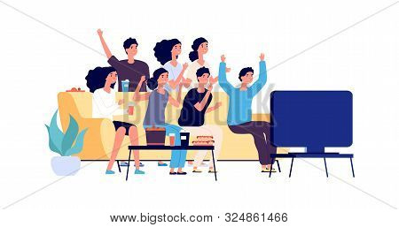 Friends Watching Tv. Students Party. Young People, Teenagers With Fast Food And Drinks. Vector Fans