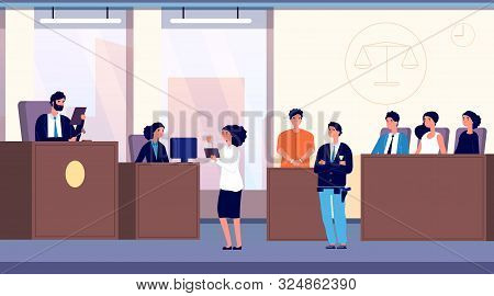 Courtroom. Judge, lawyer and criminal with police officer take part in jury trial. Justice and law vector concept. Illustration justice, judge and lawyer, jury in courtroom poster