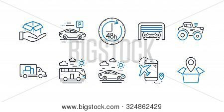 Set Of Transportation Icons, Such As Parking Garage, Car Parking, Bus Travel, Car Travel, Tractor, 4