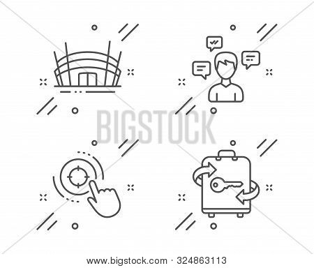 Arena Stadium, Conversation Messages And Seo Target Line Icons Set. Luggage Sign. Competition Buildi