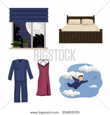 Isolated Object Of Dreams And Night Logo. Set Of Dreams And Bedroom Stock Vector Illustration.