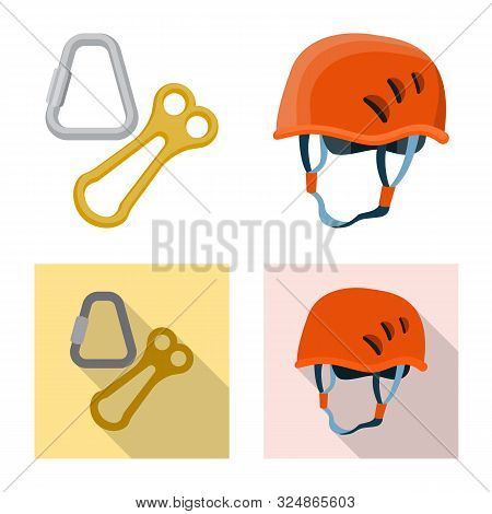 Vector Illustration Of Mountaineering And Peak Logo. Collection Of Mountaineering And Camp Vector Ic