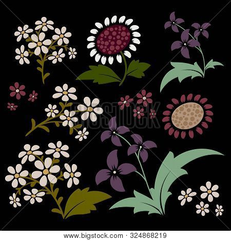 Floral Ornamental Design Elements. Collection Of Vector Images. Eps 10