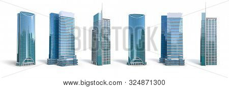 Different skyscraper buildings isolated on white. 3d illustration