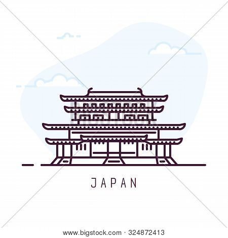 Japan City Line Style Illustration. Famous Yakushi-ji Imperial Buddhist Temple Nara. Architecture Ci