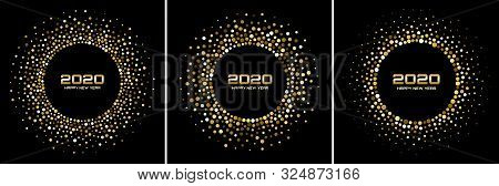 New Year 2020 Night Background Party Set. Greeting Cards. Gold Glitter Paper Confetti. Glistening Go