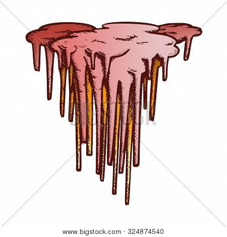 Stalactite Decorative Shape Color Vector. Vertical Icy Crystal Stalactite And Stalagmite. Undergroun