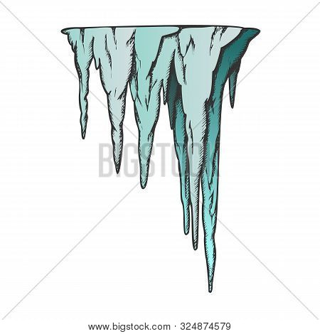 Stalactite Ancient Cave Element Color Vector. Decorative Underground Speleotherm Stalactite. Nature