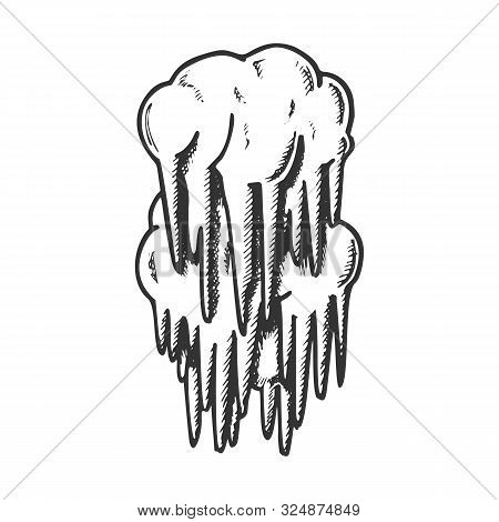 Stalactite Cave Decoration Element Ink Vector. Mystery Vertical Crystal Stalactite And Stalagmite. U