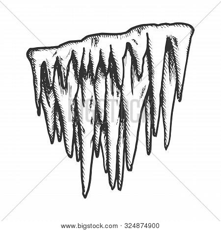Icicle Stalactite Frost Element Monochrome Vector. Glacial Subfreezing Weather, Vertical Icy Stalact