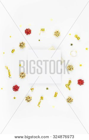 Christmas Composition. New Year Or Christmas Pattern Flat Lay Top View Xmas Holiday Celebration Deco