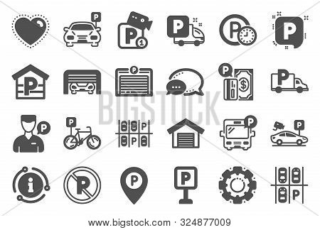 Parking Icons. Car Garage, Valet Servant And Paid Transport Parking Icons. Video Monitoring, Bike Or