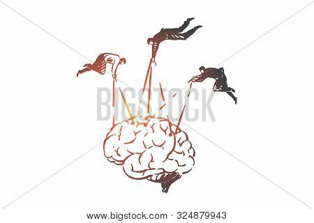Manipulating Human Thinking, Propaganda Concept Sketch. People Pulling Strings In Brain, Controlling