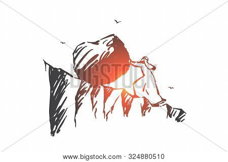Business Challenge, Hard Work Concept Sketch. Ambitious Arab Man Pushing Huge Stone To Mountain Top,