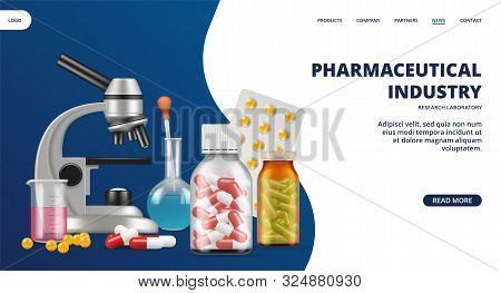 Pharmaceutical Industry Landing Page. Medicine, Research Laboratory Vector Web Banner. Realistic Pil