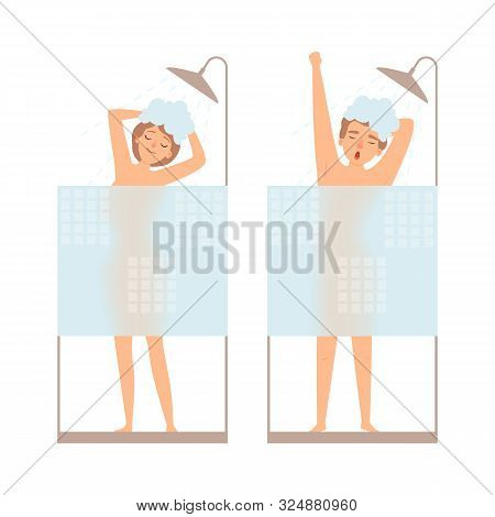 Man And Woman Take A Shower. Hygiene Vector Concept. People In Bathroom, Get Shower With Soap Illust