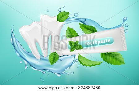 Toothpaste Background. Dental Poster Design. Mint Herbal Toothpaste, White Clean Teeth Vector Banner