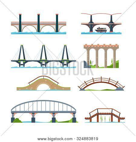 Bridges Flat. Architectural Urban Objects Bridge With Column Or Aqueduct Beam Vector Pictures. Illus