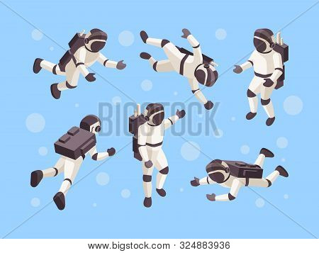Astronaut Isometric. Cosmo Space Futuristic Human In Special Clothes Vector Astronaut In Different P