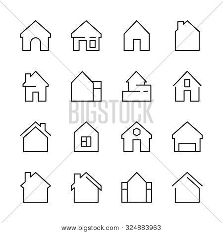 House Icon. Web Symbols Buildings Interior Garage Doors Roof House Vector Linear Template. House Apa