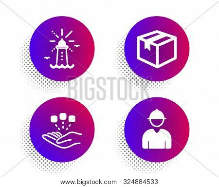 Parcel, Lighthouse And Consolidation Icons Simple Set. Halftone Dots Button. Engineer Sign. Shipping