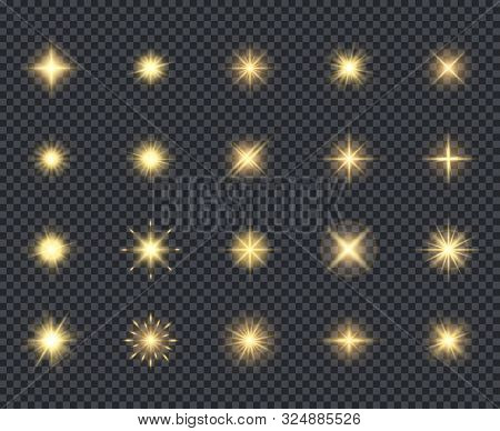 Glowing Stars Icon. Celebration Effects Beautiful Sparks Lighting Rays Vector Realistic Icons Collec