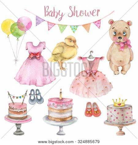 Baby Shower Watercolor Collection. Newborn Girl Shower Hand Drawn Watercolor Set.