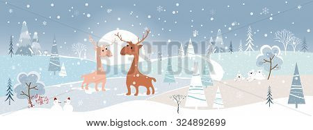 Wonderland Winter Landscape With Mountains,snow Falling, Christmas Tree, Snow Man, Polar Bear Family
