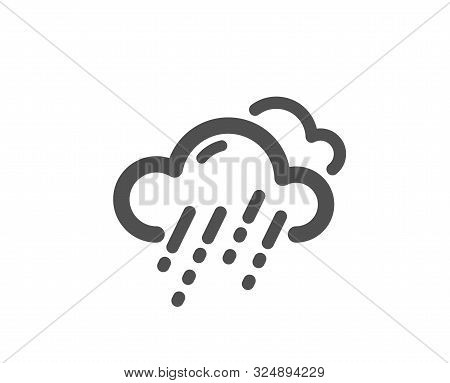 Clouds With Rain Sign. Rainy Weather Forecast Icon. Cloudy Sky Symbol. Classic Flat Style. Simple Ra