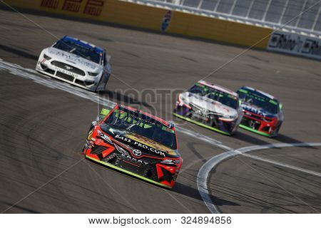 September 15, 2019 - Las Vegas, Nevada, USA: Martin Truex Jr. (19) races down the front stretch during the South Point 400 at Las Vegas Motor Speedway in Las Vegas, Nevada.