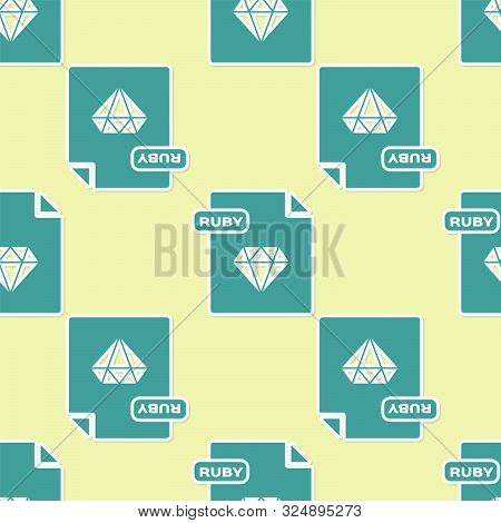 Green Ruby File Document. Download Ruby Button Icon Isolated Seamless Pattern On Yellow Background.