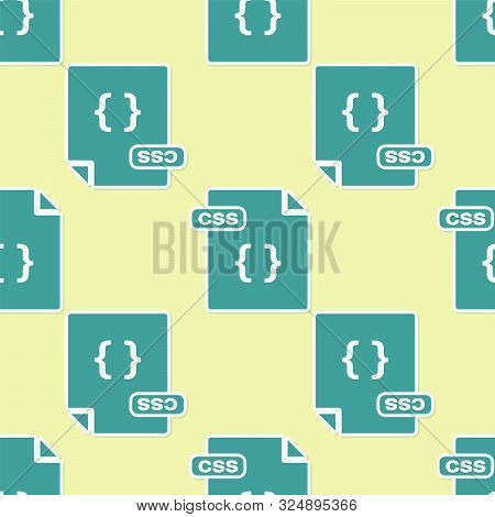 Green Css File Document. Download Css Button Icon Isolated Seamless Pattern On Yellow Background. Cs